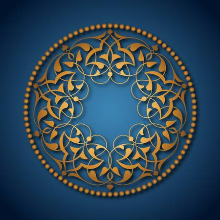 ottoman fabric: Golden Ottoman patterns over blue Illustration