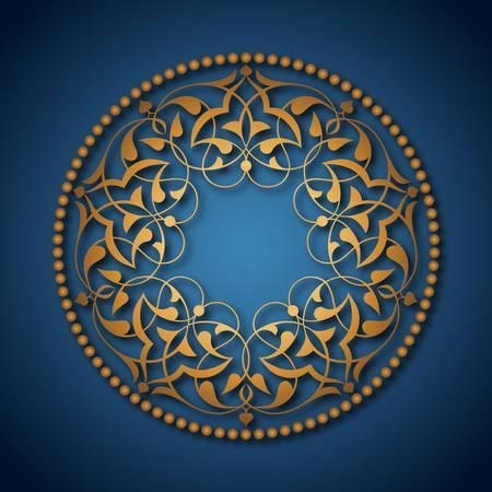 Golden Ottoman patterns over blue Illustration