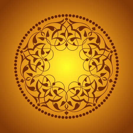 Golden Ottoman patterns over orange Vector