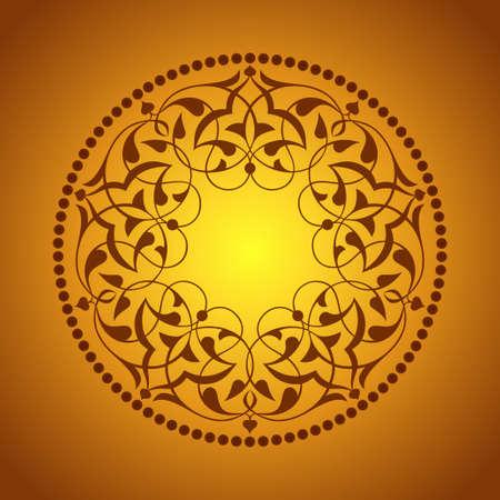 Golden Ottoman patterns over orange Illustration