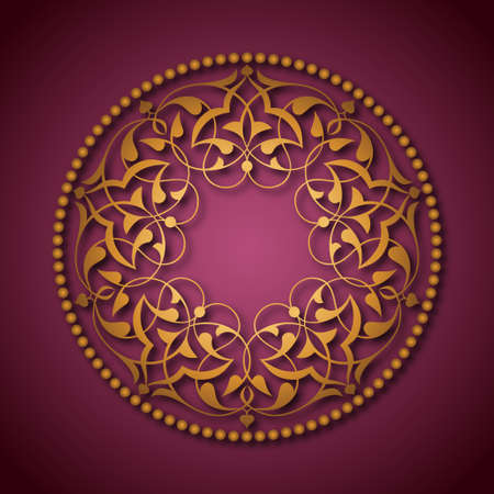 Golden Ottoman patterns over pink Vector