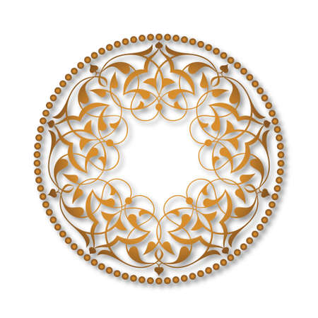 Golden Ottoman patterns over white Illustration
