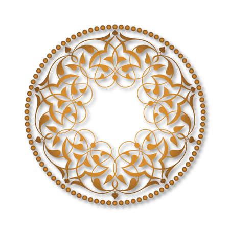 Golden Ottoman patterns over white Illustration