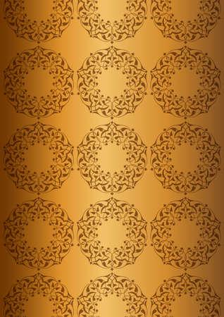 Ottoman patterns over golden background Vector