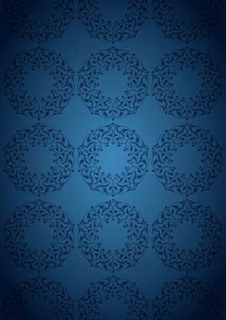 Ottoman patterns over blue background Vector