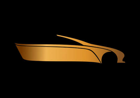 Golden auto logo over black Illustration