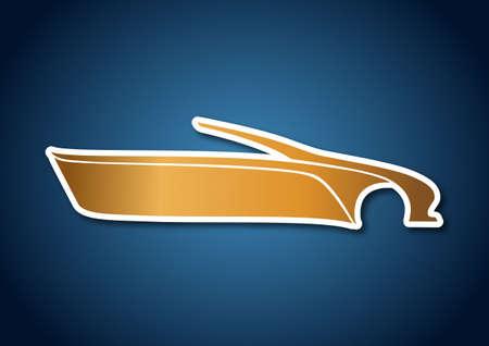 Golden auto logo over blue Stock Vector - 20238741