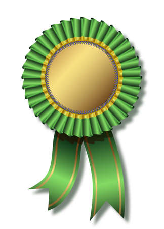Green award over white Vector