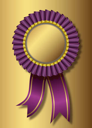 Purple award over golden background Vector