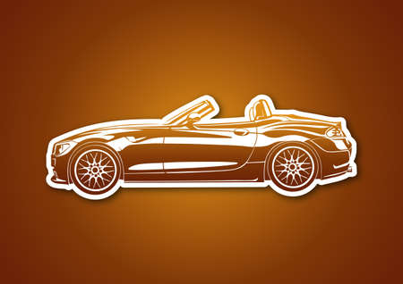 Caramel sport car over paper