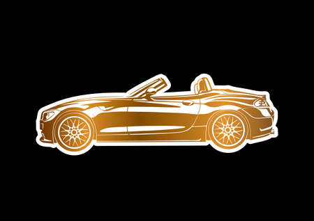 Golden sport car over black paper Stock Vector - 20351512