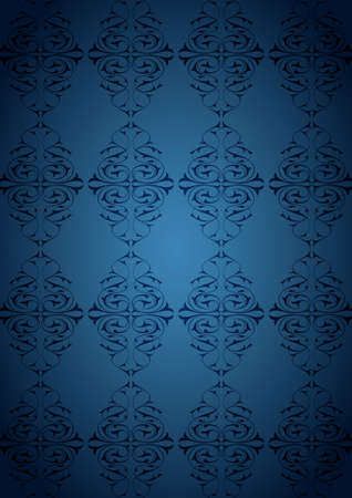 Ottoman Pattern and blue background Vector