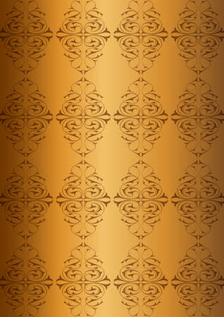 Ottoman Pattern and golden background Vector