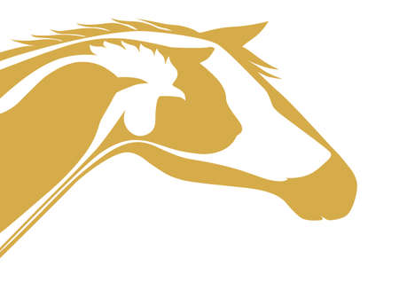 horse like: Yellow veterinary logo