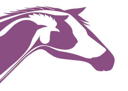 horse like: Purple veterinary logo Illustration