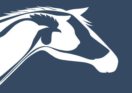 Veterinary logo over blue