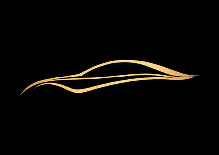 Golden speedy auto logo over black Illustration