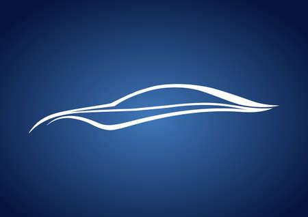 wijzigen: Wit snelle auto over blauwe