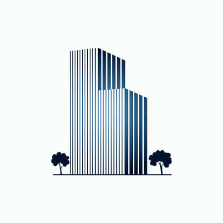 Blue buildings and trees Illustration