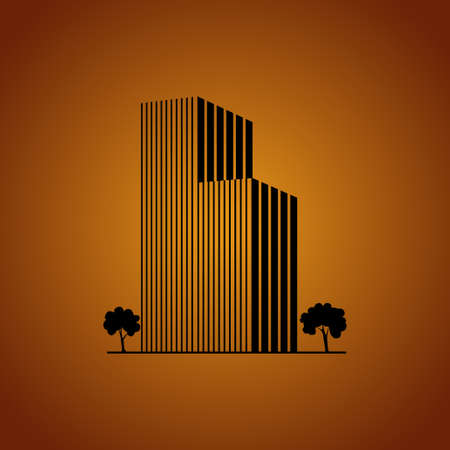 Buildings and trees over caramel Vector