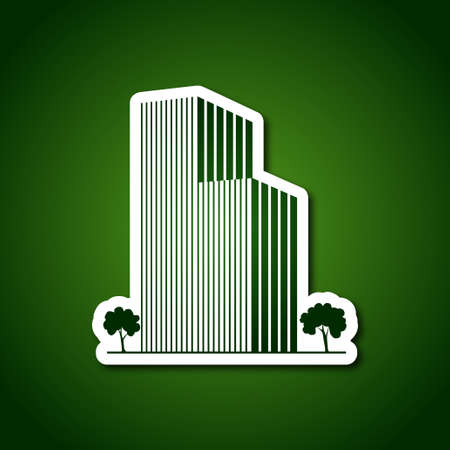 Buildings and trees over green Vector