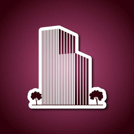 Buildings and trees over pink Illustration