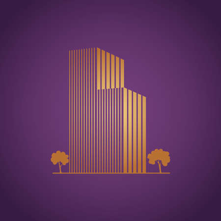 Buildings and trees over purple Vector