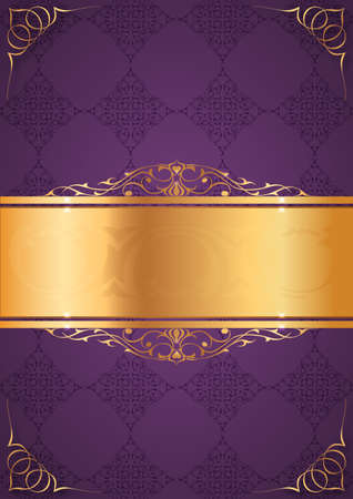 ottoman fabric: Little frames on purple background Illustration