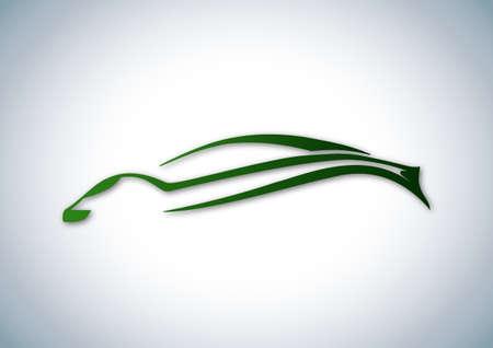 Green logo of sport auto over white Illustration