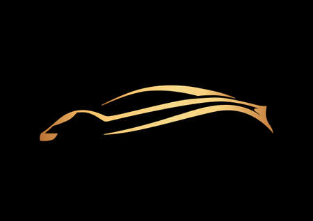 Golden logo of sport auto over black Illustration