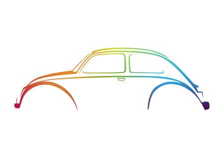 cars racing: Colorful sweet auto logo Illustration