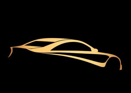 Golden super sport auto over black