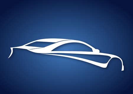Super sport auto over blue Vector