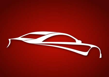 wijzigen: Super sport auto over rood Stock Illustratie