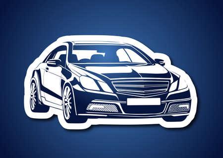 Automobile over blue Vector