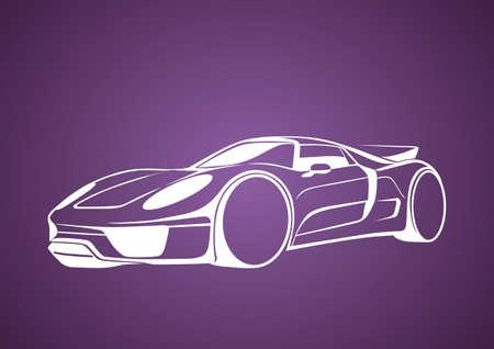 White super auto over purple Vector