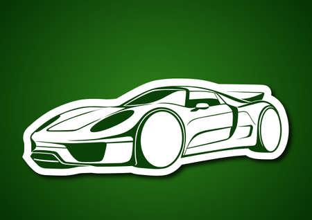 Super sport auto over green Vector