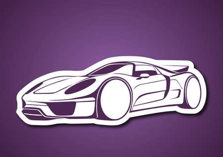 Super sport auto over purple Vector