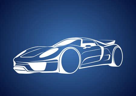 White super auto over blue Vector