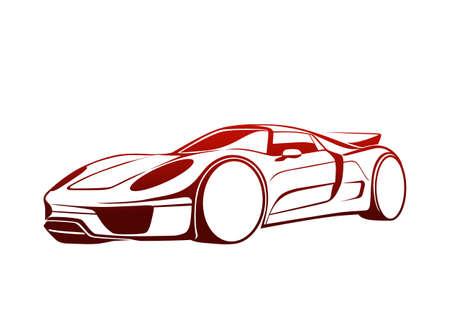 automotive industry: Super red auto Illustration