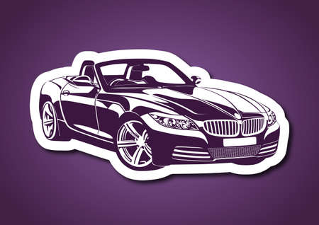 King of sport cars over purple Illustration