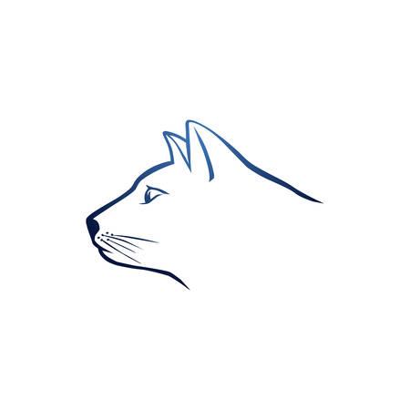 Blue cat head Vector