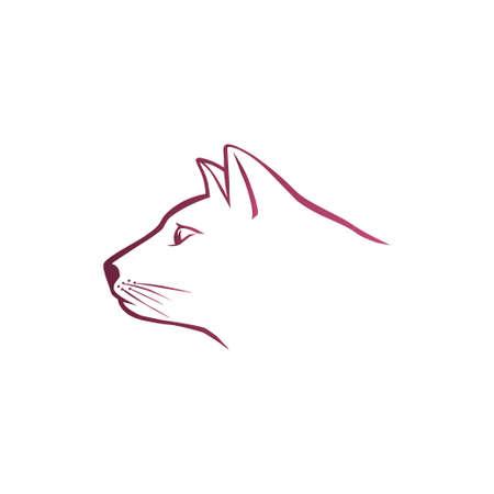 Pink cat head Vector