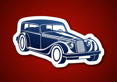 Blue sport classic auto over red paper Illustration