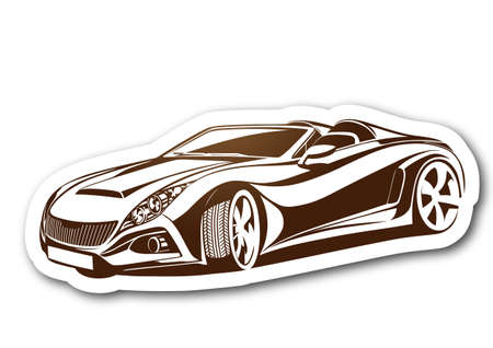 Beauty and brown aesthetic car over paper Illustration