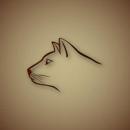 Brown cat head Vector
