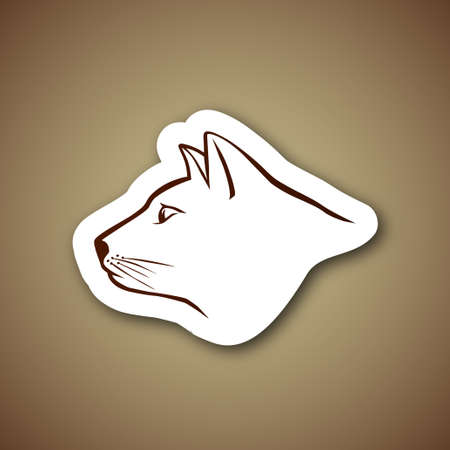 horse like: rown cat head logo over paper
