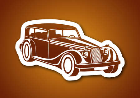 Caramel sport classic automobile over paper Illustration