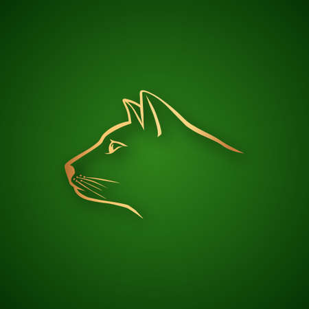Cat head logo over green Vector