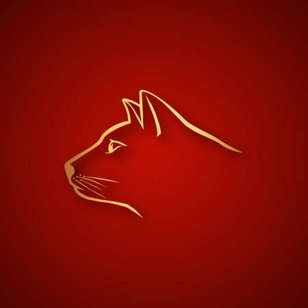 Cat head logo over red Vector